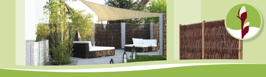 Terrassendesign mit Weidenzaun: