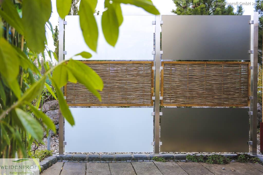 Zaunsystem CAMBO: Module Robinie + Glas An Edelstahlpfosten