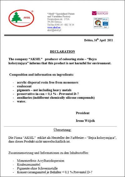 Deklaration AKSIL Holzbeize